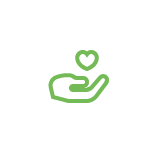 Green hand icon holding a heart