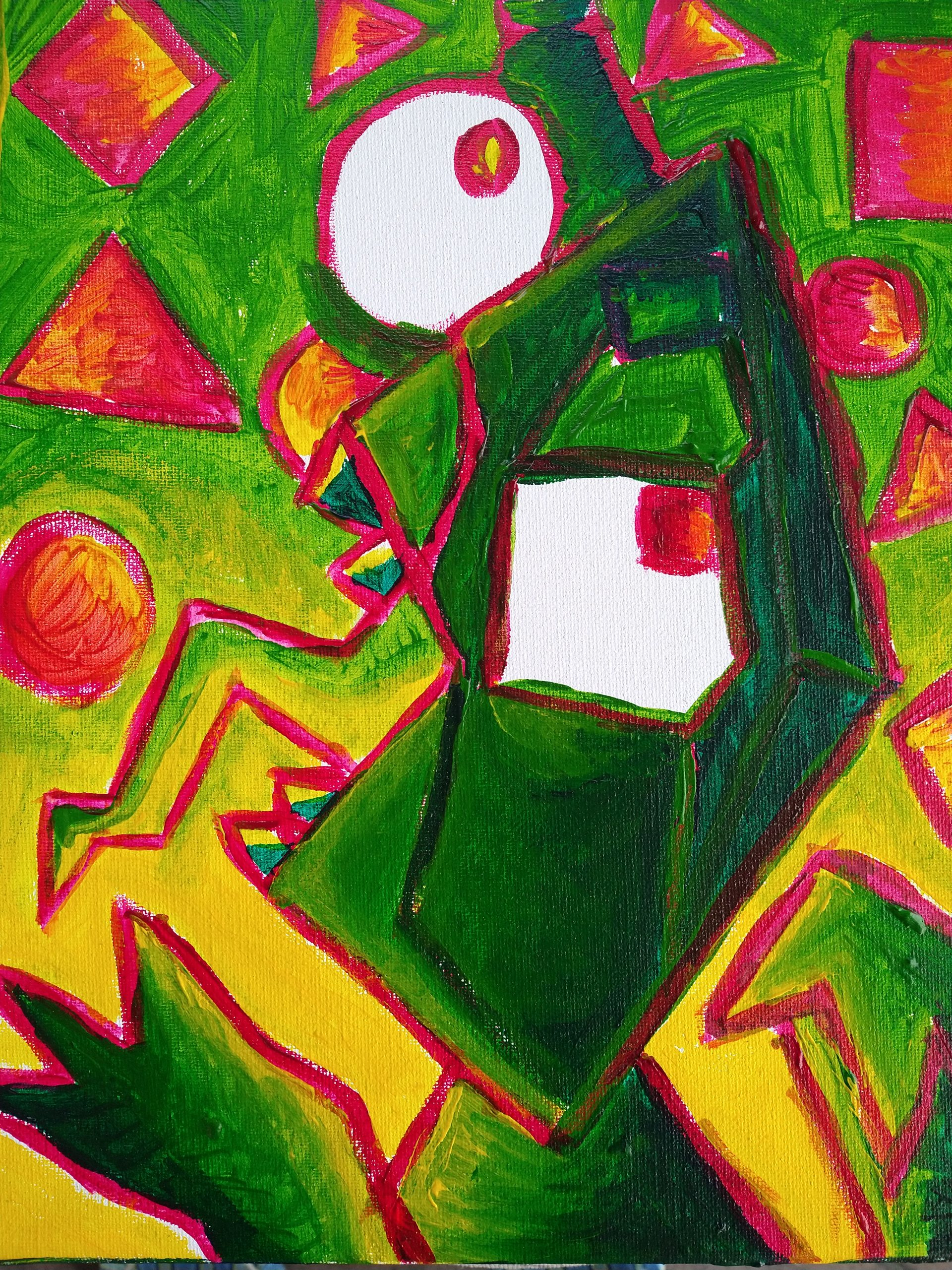 Abstract green, yellow red and white face.