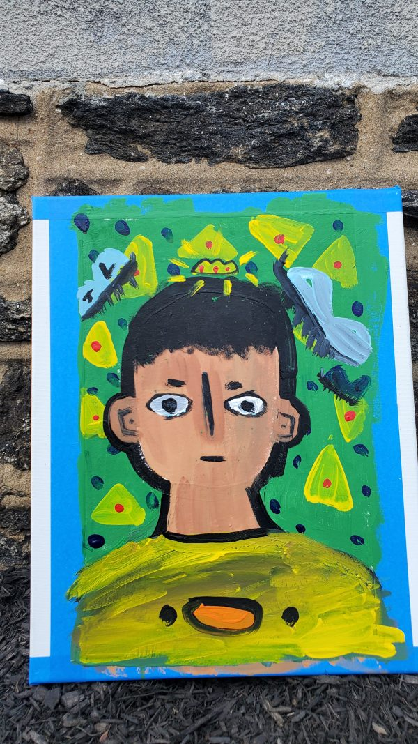 Self Portrait with green backgrounds and yellow triangles.
