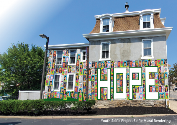 Rendering of Youth Mural with prtraits tiled on the wall spelling HOPE.