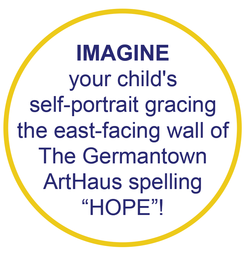 """Yellow circle with blue text 'Imagine your child's self-portrait gracing the east-facing wall of The Germantown ArtHaus spelling """"HOPE""""!"""