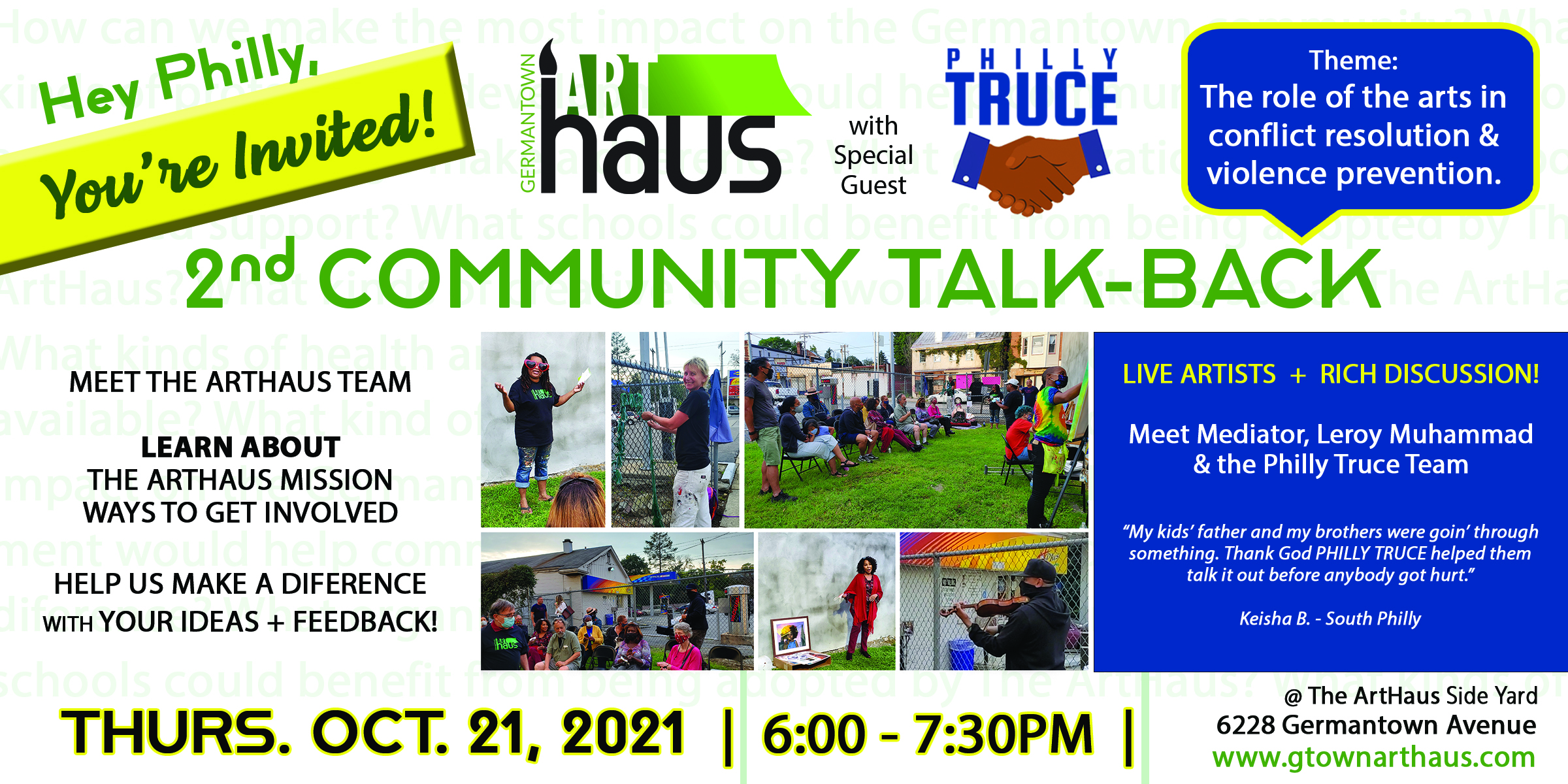 ArtHaus Comm Talk-Back w Philly Truce 10-21-21
